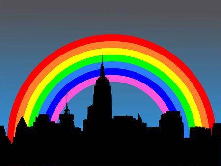 refracted: Midtown manhattan skyline with colourful rainbow illustration