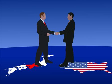 Japanese and American business men meeting with handshake photo