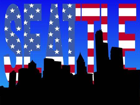 seattle skyline: Seattle skyline with American flag text illustration