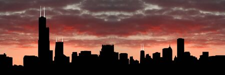sears: Chicago Skyline at sunset with beautiful sky