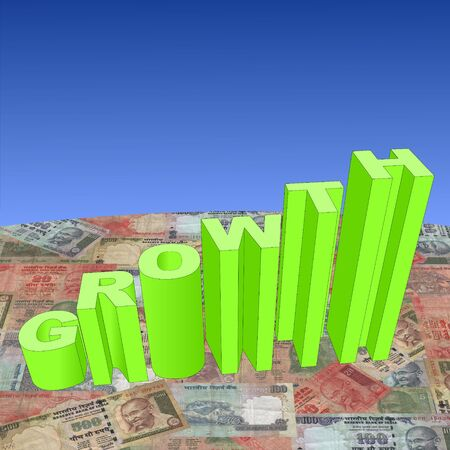 indian money: growth text graph on Indian Rupee illustration Stock Photo