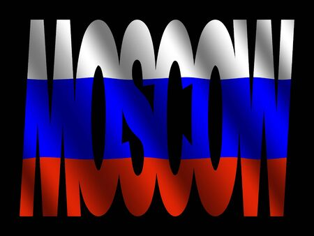 Moscow text with Russian Federation flag illustration