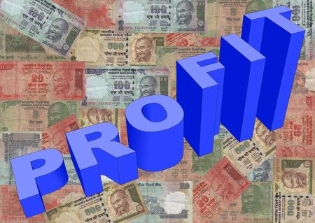 rupee: Profit text graph on Indian Rupees illustration