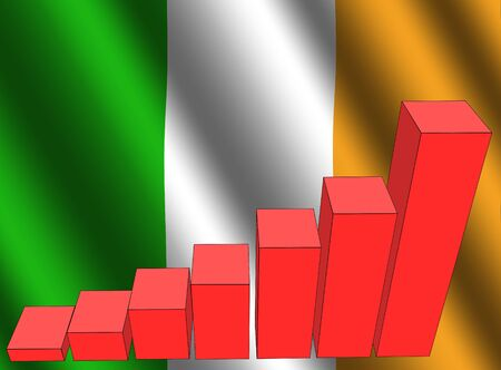 bar chart and rippled Irish flag illustration Stock Illustration - 3689763