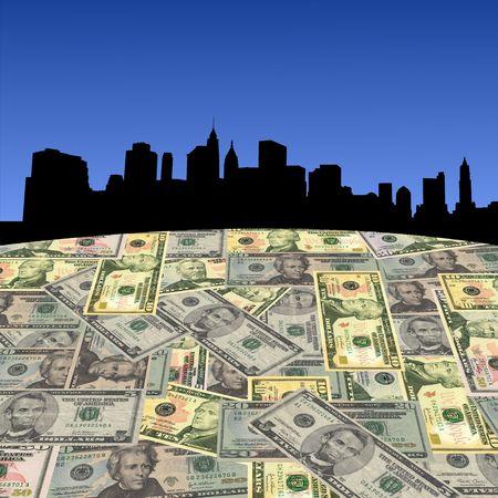 Lower Manhattan skyline with American dollars foreground illustration illustration