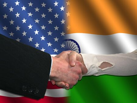 truce: handshake over American and Indian flags illustration