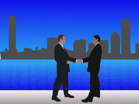 negotiator: business men meeting with handshake and Boston skyline Stock Photo