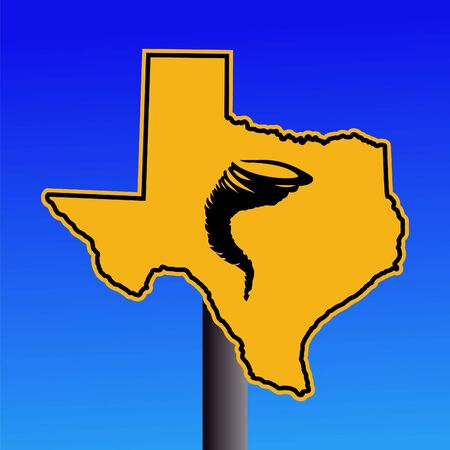 Texas warning sign with tornado symbol on blue illustration
