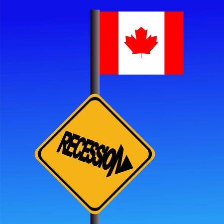 economic downturn: Recession warning sign and Canadian flag illustration