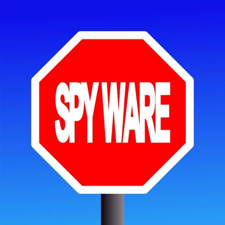 stop spyware sign on blue sky illustration Stock Illustration - 3698931