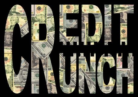 crunch: Credit Crunch text with American dollars background