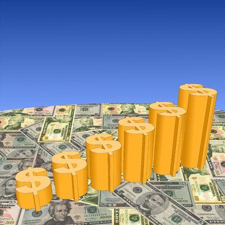 Dollar symbol graph on American currency illustration