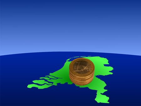stacks of Euro coins with map of Netherlands illustration illustration