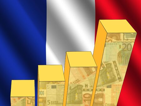 earnings: bar chart and rippled French flag with euros illustration