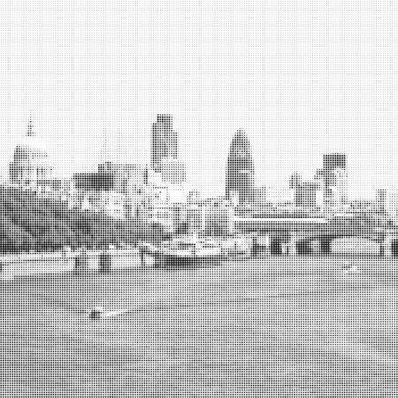st pauls: monochrome halftone London Skyline St Pauls cathedral and skyscrapers