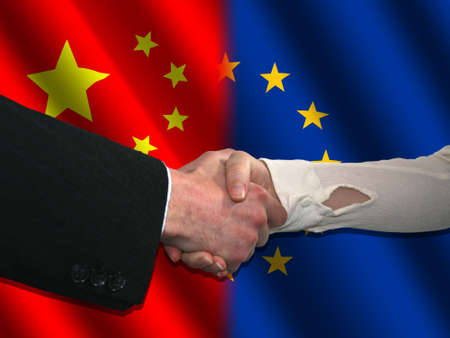handshake over Chinese and EU flags illustration illustration