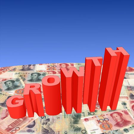 growth text graph on Chinese Yuan illustration illustration