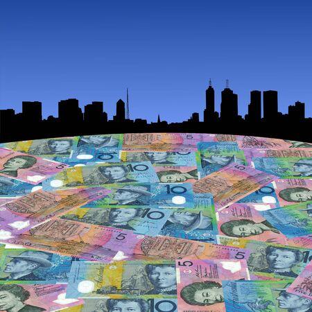 australian dollars: Melbourne Skyline with Australian dollars foreground illustration