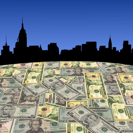 Midtown Manhattan skyline with American dollars foreground illustration illustration
