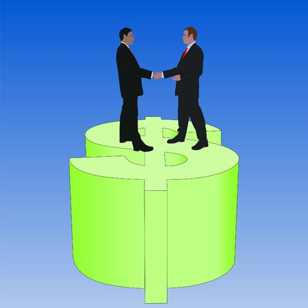 business men meeting with handshake on giant dollar symbol photo