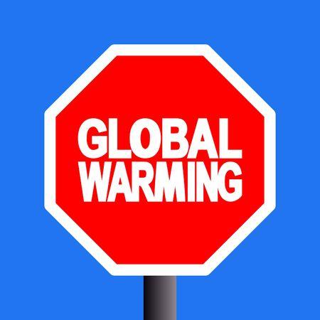stop global warming sign on blue sky illustration Stock Illustration - 3712230
