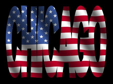 Chicago text with American flag illustration Stock fotó