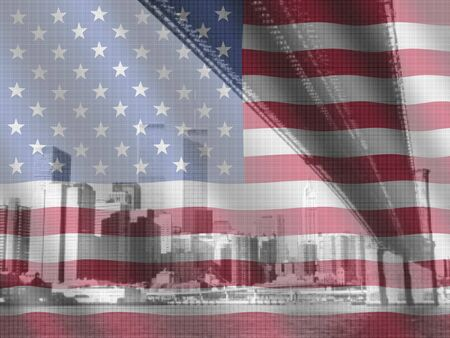 Brooklyn Bridge and World Trade Center New York and rippled American flag illustration Stock Photo