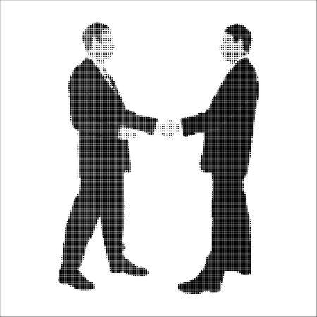 negotiator: halftone business men shaking hands on white illustration Stock Photo