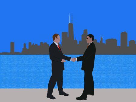 negotiator: business men meeting with handshake and Chicago skyline