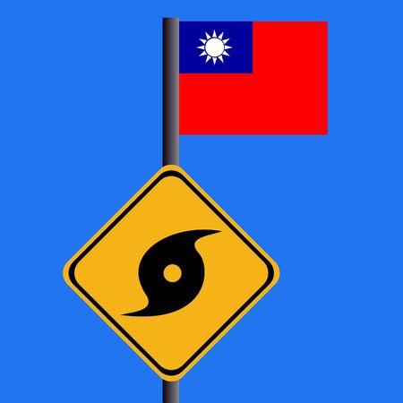 storm damage: Hurricane sign and Taiwanese flag illustration Stock Photo