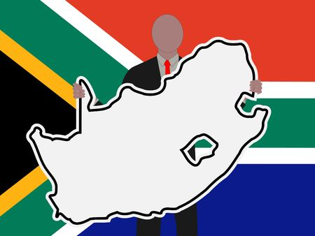 Business man with South Africa sign with South African flag illustration illustration