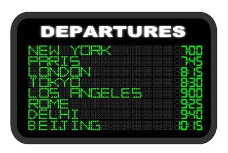 International Airport Departure board illustration Stock Photo
