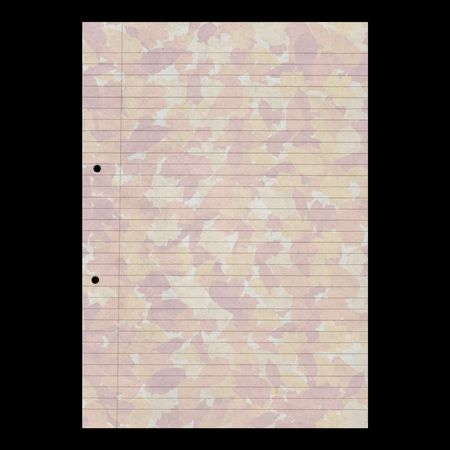 Blank sheet of A4 paper with autumn leaves watermark on black photo