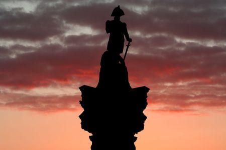 nelson: Nelson Column Trafalgar Square at sunset illustration