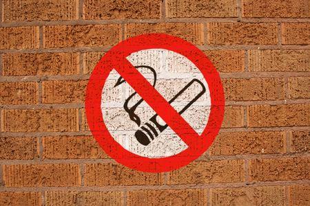 No smoking sign painted on brick wall photo