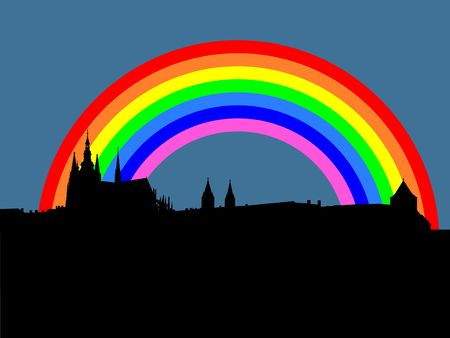 vitus: St Vitus cathedral and Prague castle with rainbow illustration Stock Photo