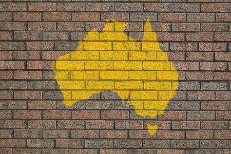Australian map painted on brick wall photo