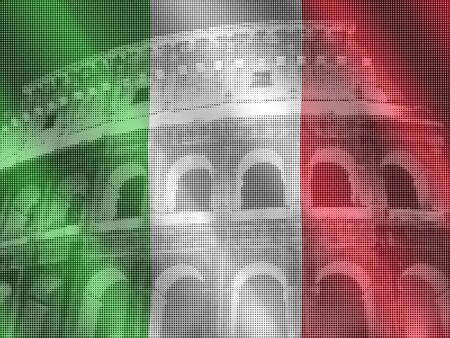 colloseum: halftone Colloseum Rome with italian flag illustration Stock Photo