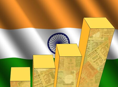 bar chart and rippled Indian flag with currency illustration illustration