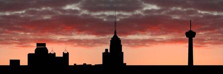 San Antonio at sunset with colourful sky illustration illustration