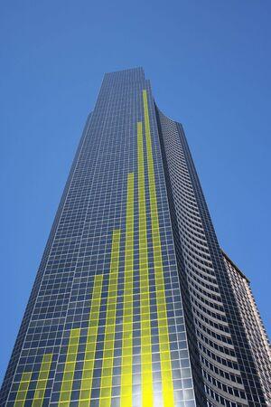 proceeds: barra amarilla en el gr�fico de alto rascacielos ilustraci�n