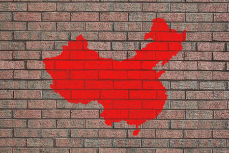 red China map painted on brick wall photo