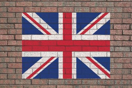 brick and mortar: British flag painted on brick wall illustration Stock Photo