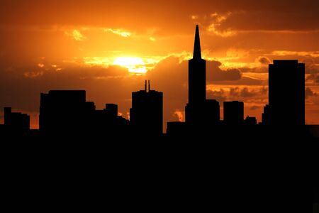 transamerica: San Francisco skyline at sunset with beautiful sky illustration Stock Photo