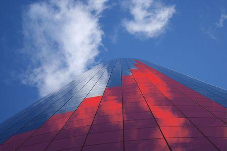 proceeds: barra roja en el gr�fico de alto rascacielos ilustraci�n
