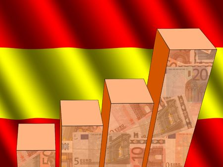 earnings: bar chart and rippled Spanish flag with euros illustration
