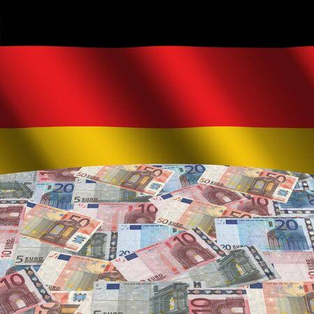 rippled: rippled German flag with euros globe illustration