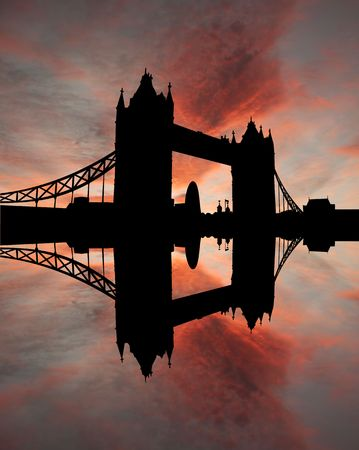 reflected: Tower Bridge London reflected in River Thames at sunset