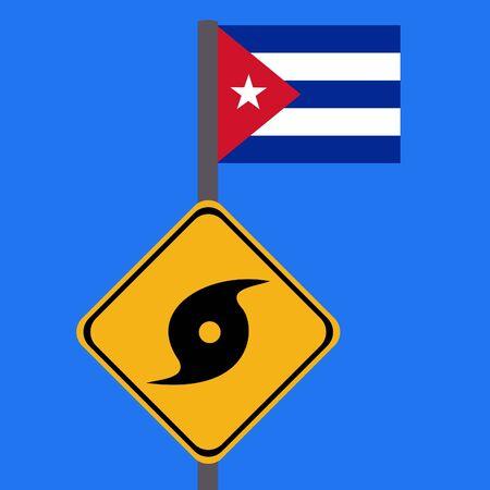 storm damage: Hurricane sign and Cuba flag illustration Stock Photo