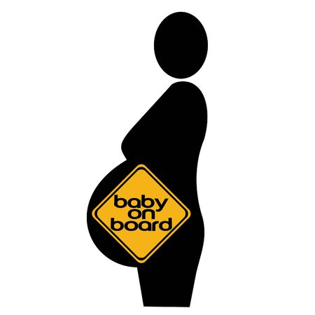 beware: pregnant woman silhouette with  on board sign